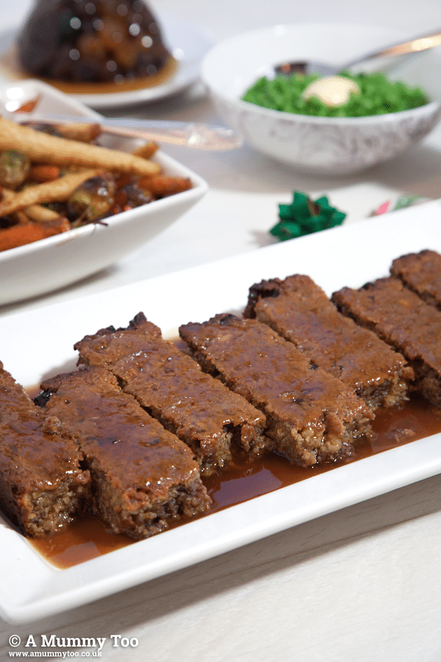 This quick vegetarian festive dinner makes a tasty no-meat meatloaf