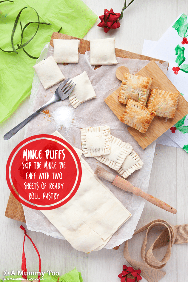 Make mince pies without a pie tray by pressing between two layers of pastry and cutting into squares.