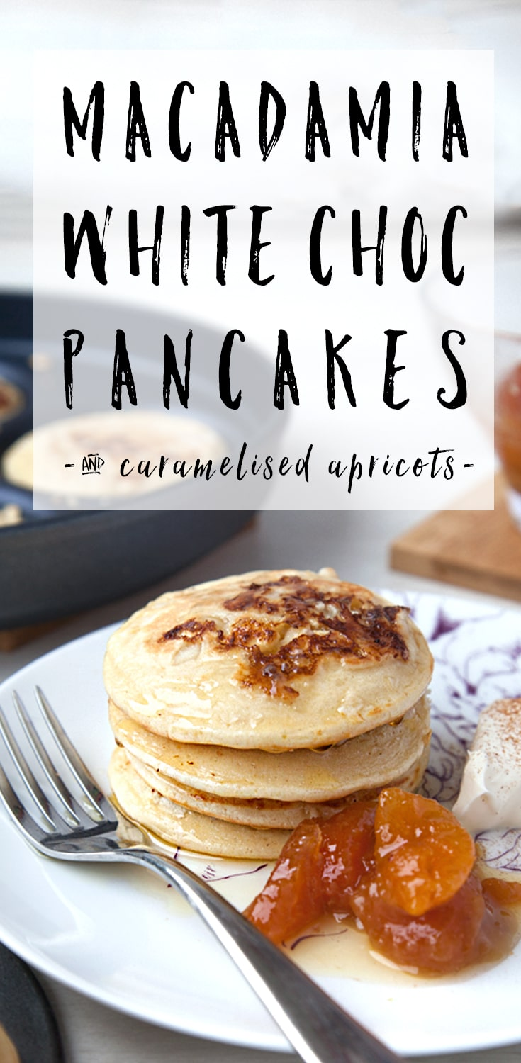 Try these white chocolate macadamia nut pancakes for breakfast! Find the recipe at amummytoo.co.uk #recipe #pancakes #pancakestack