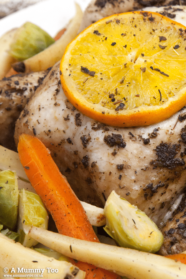 Close up of my healthier Christmas dinner - a sage and orange chicken