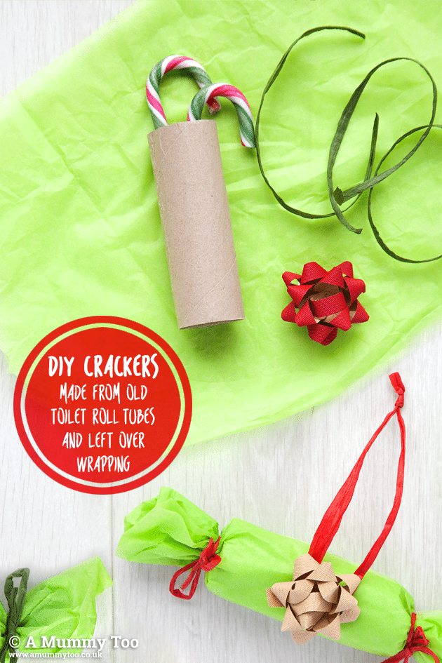 Make hangable crackers from old wrapping, tied around toilet roll tubes filled with sweets.