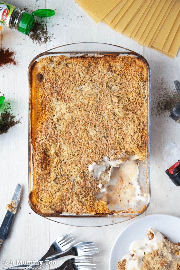 An overhead view of this tasty herb topped mild chilli beef lasagne