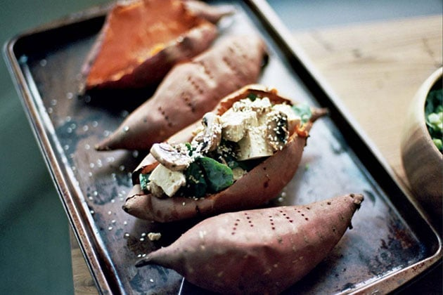 Asian-style baked sweet potatoes