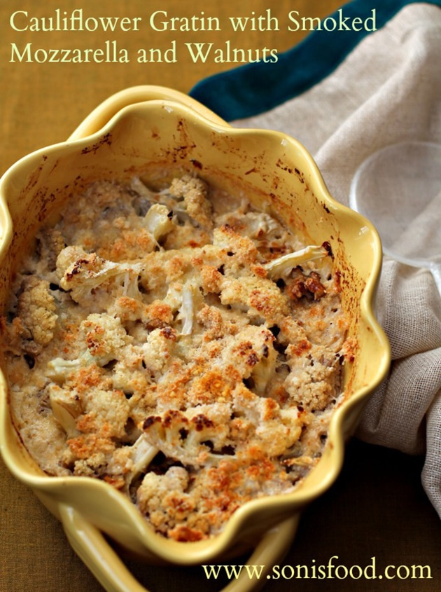 Cauliflower Gratin with Smoked Mozzarella and Walnut Sides