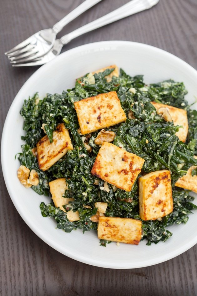 Miso Kale Salad with Roasted Tofu and Walnuts