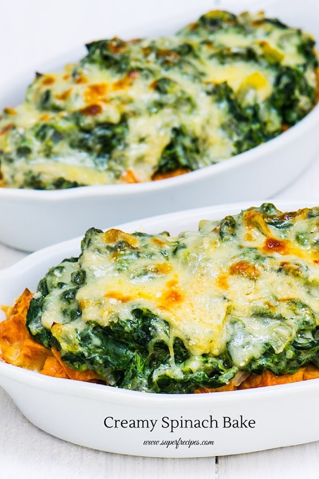 Sweet Potato and Spinach Bake with a Creamy Cauliflower Sauce