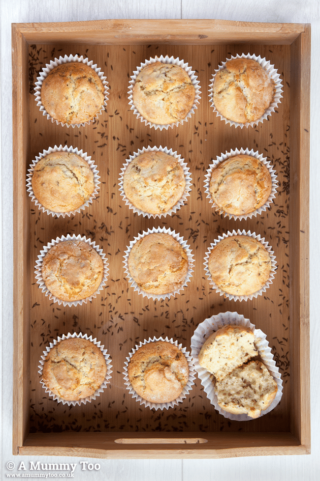 Caraway seed muffins, served on a tray
