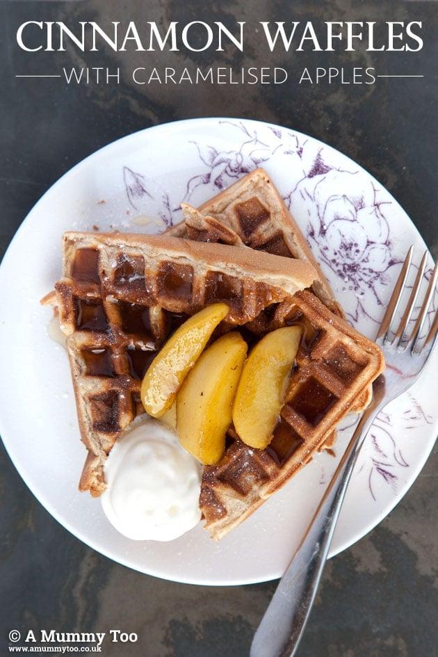 Cinnamon waffles with caramelised apples