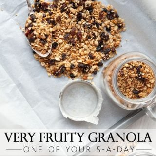 Coconut, hazelnut and mixed fruit granola