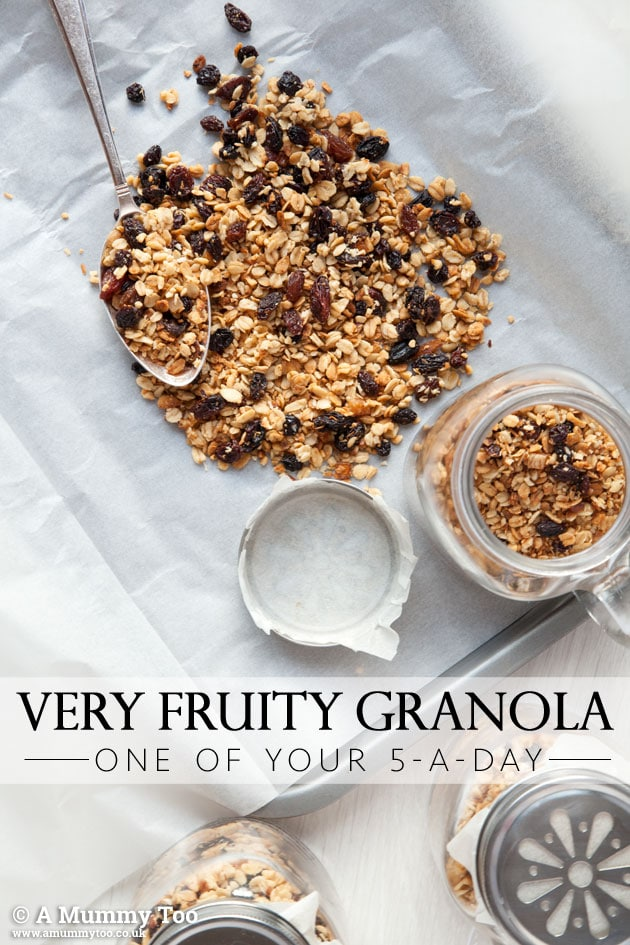Coconut, hazelnut and mixed fruit granola - a fruity treat that's one of your five a day
