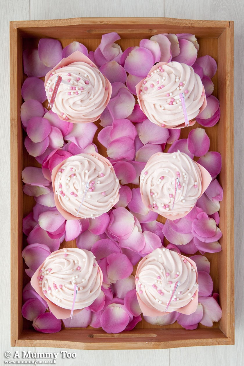 Strawberry cupcakes presented on a tray for Valentine's Day