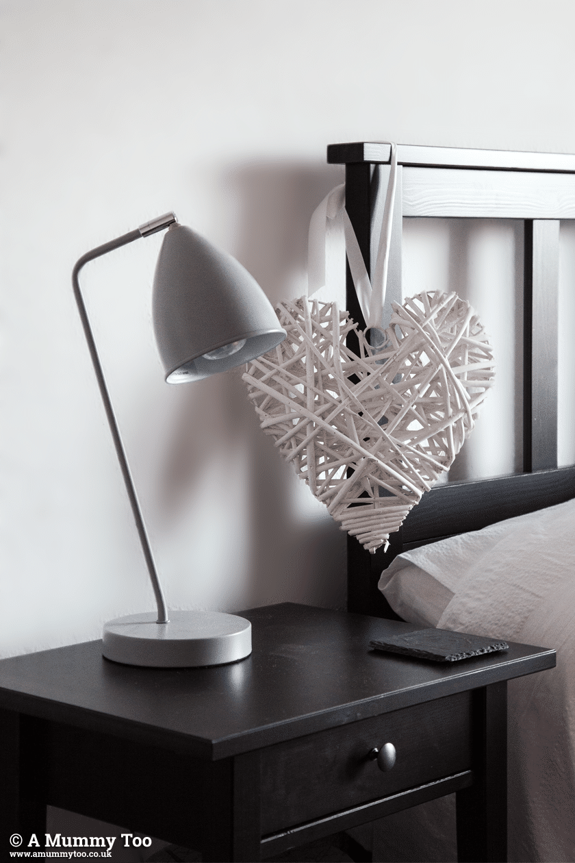 Monochrome! Heart of House Henley Touch Table Lamps in Matte Grey from Argos + Wicker Heart from The Range