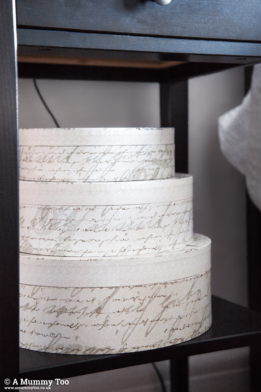 Nouveau Collection French Script Hat Boxes from Dunelm Mill