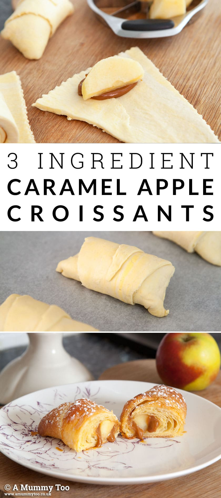 Looking for a breakfast treat? Here's a recipe for three ingredient caramel apple croissants that's quick to make #recipe #breakfast #croissants #foodhack