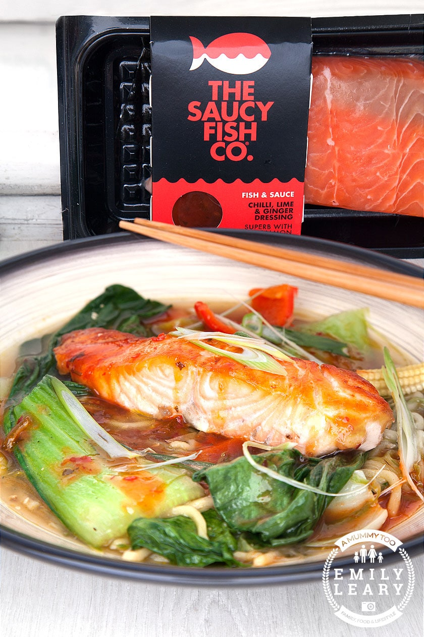 Spicy salmon noodle soup - ready in 20 minutes - A Mummy Too
