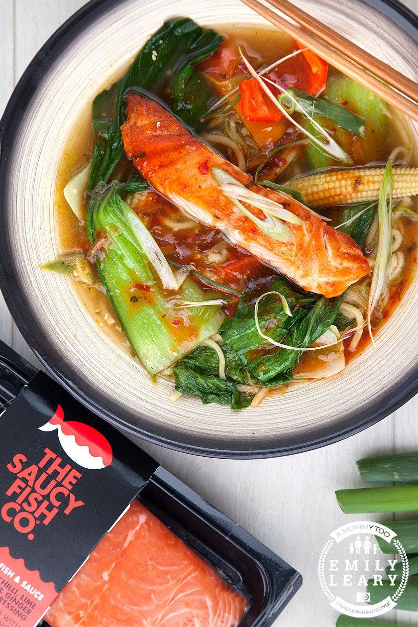 Spicy salmon noodle soup