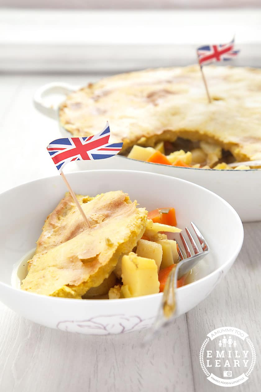 Curried Woolton pie with potato pastry. Vegetarian and yummy!