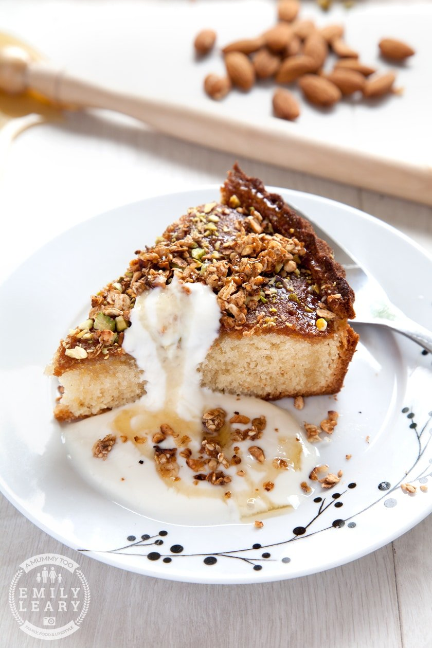 A delicious dairy free honey cake, made with goat's butter, goat's yogurt and granola