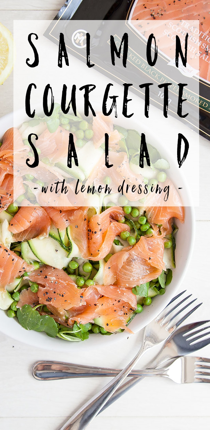 Here's how to make this tasty salmon courgette salad with a lemon dressing #recipe #salmon #salads