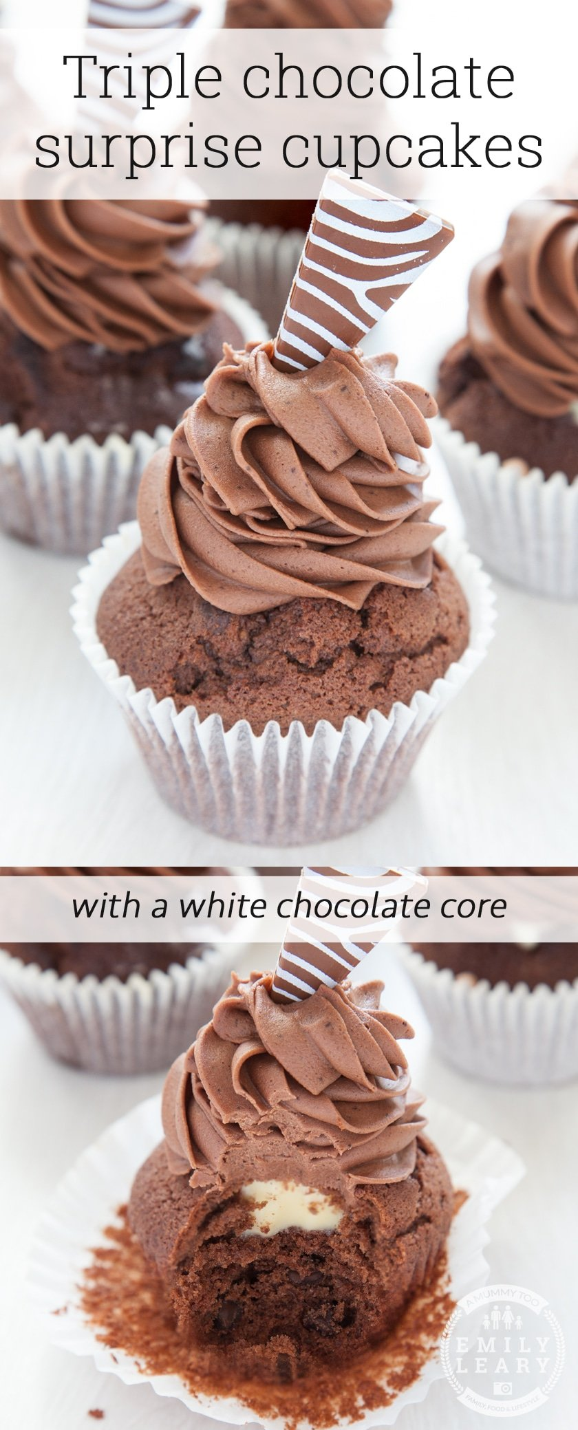 Here's how to make these tasty triple chocolate surprise cupcakes with a white chocolate core