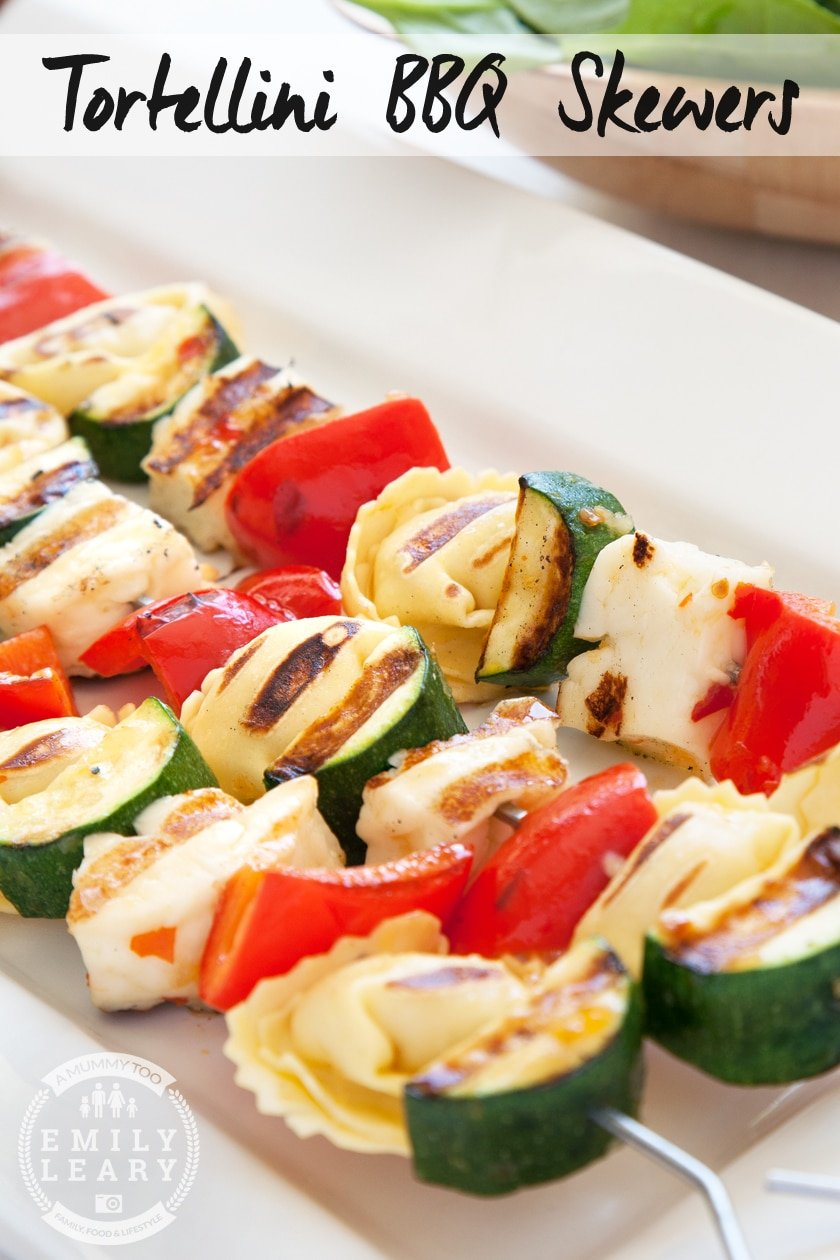 Sweet chilli tortellini and vegetable BBQ skewers, with halloumi, courgette and peppers. Cook them on the BBQ!
