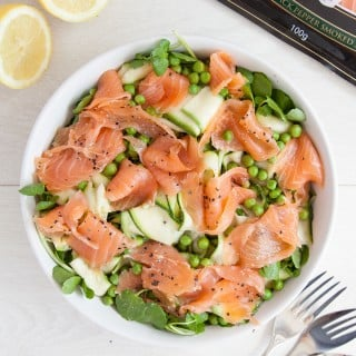 Pea and courgette ribbon lemon salad with black pepper smoked salmon