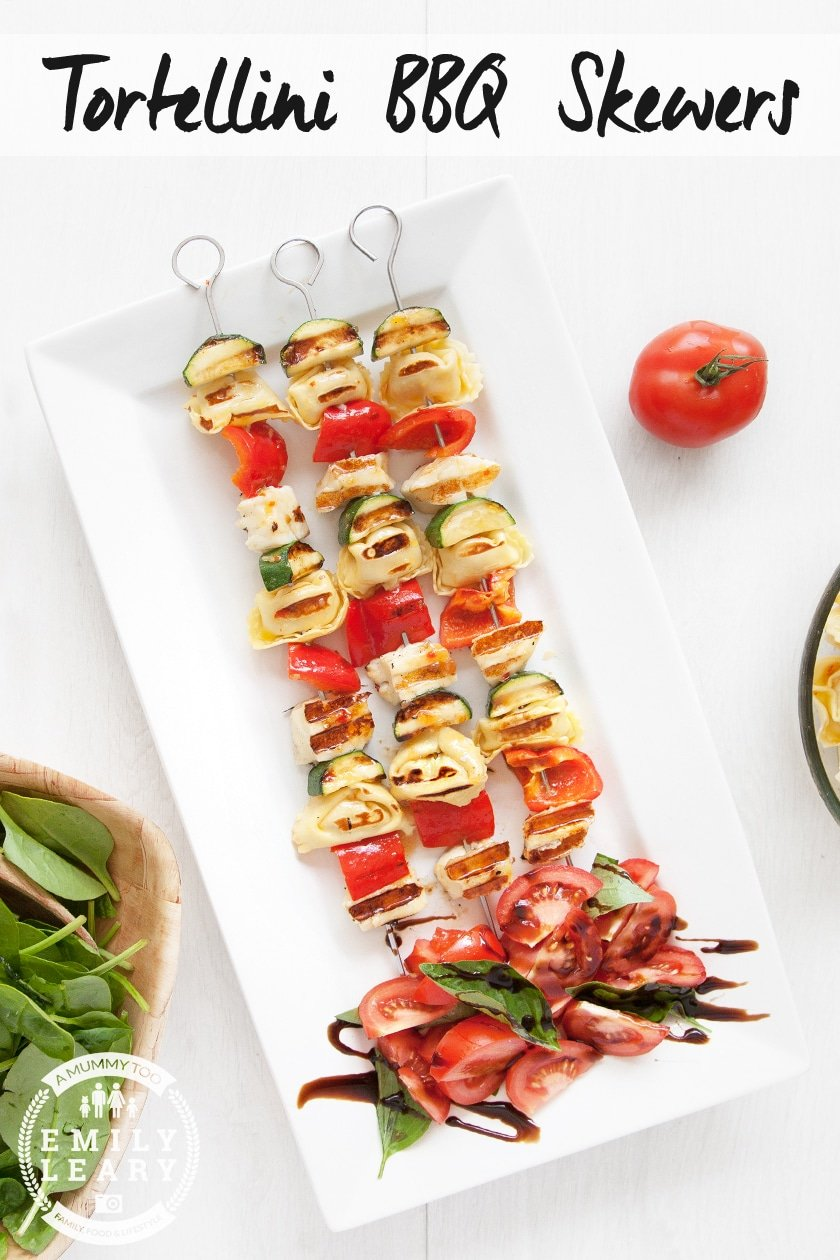 Sweet chilli tortellini skewers, with halloumi, courgette and peppers. Cook them on the barbecue. YUM!
