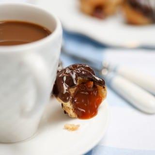 Chocolate caramel choux bites