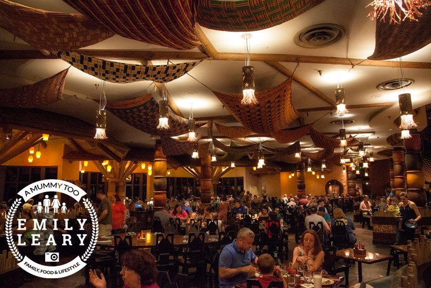 Boma restaurant in Florida Animal Kingdom Lodge with a mummy too logo in the lower-left corner