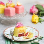 Pretty, easy lemon and rose fondant fancies