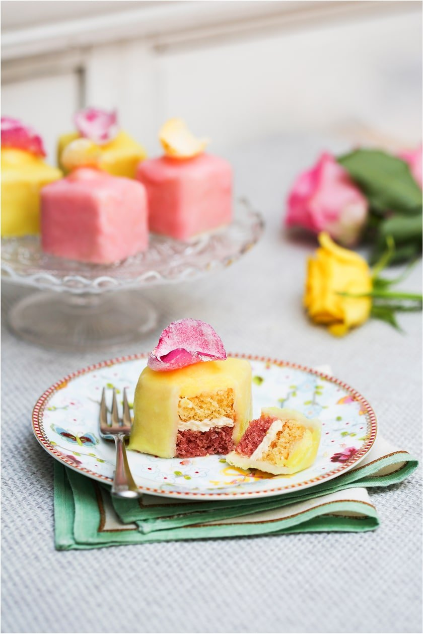 Easy to decorate lemon and rose fondant fancies
