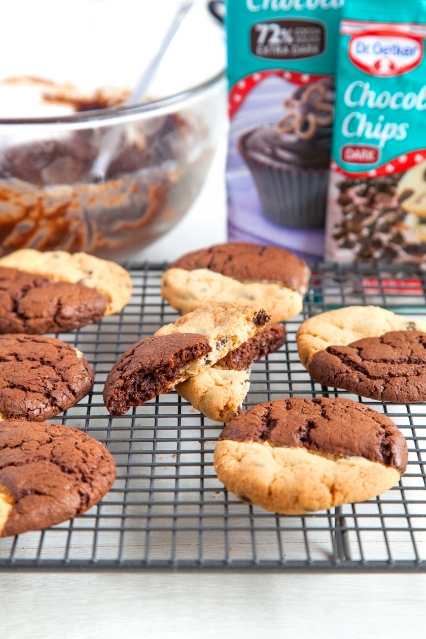 Browkies - decadent brownies and crumbly choc chip cookies in one dessert!