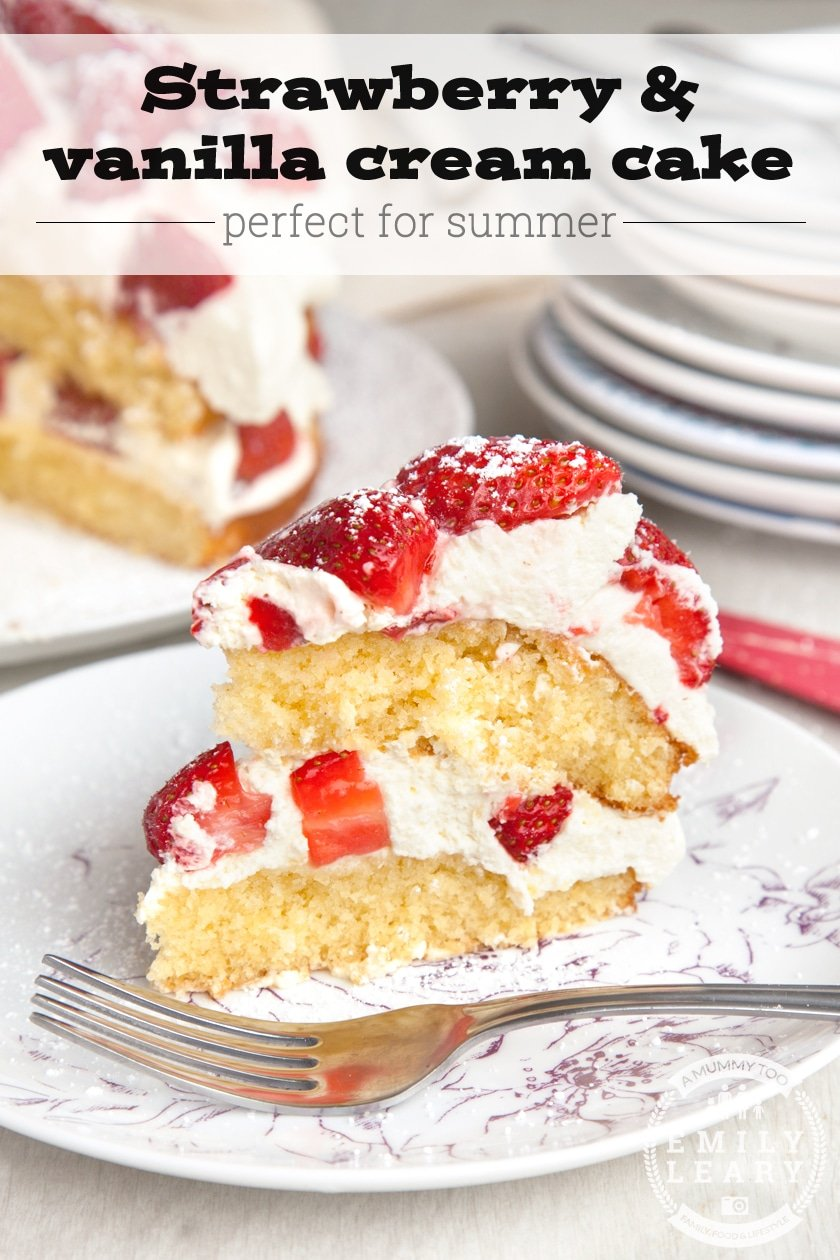 Strawberry and vanilla cream cake (so easy, a three year old made it!)