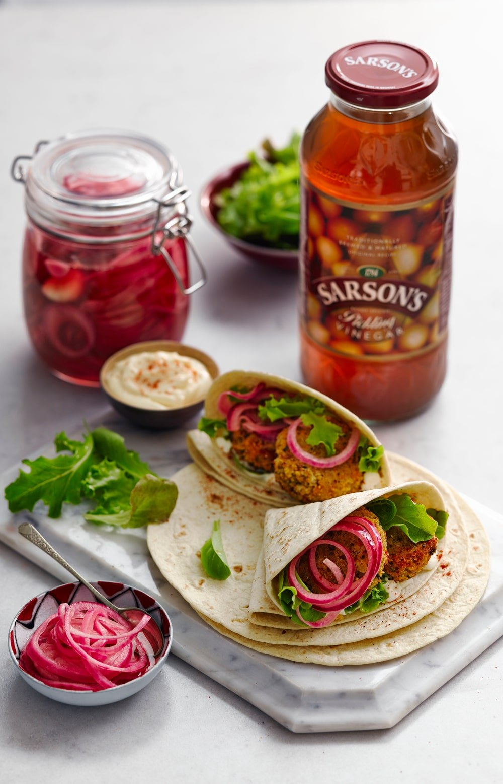 Chilli bean bite wrap with pickled red onion (vegetarian street food) - here's how to make this tasty sandwich alternative