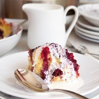 Summer fruit sponge pudding