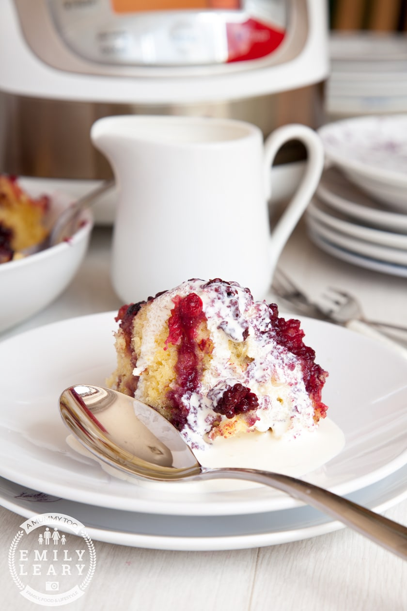 A tasty summer fruit sponge pudding, served with cream