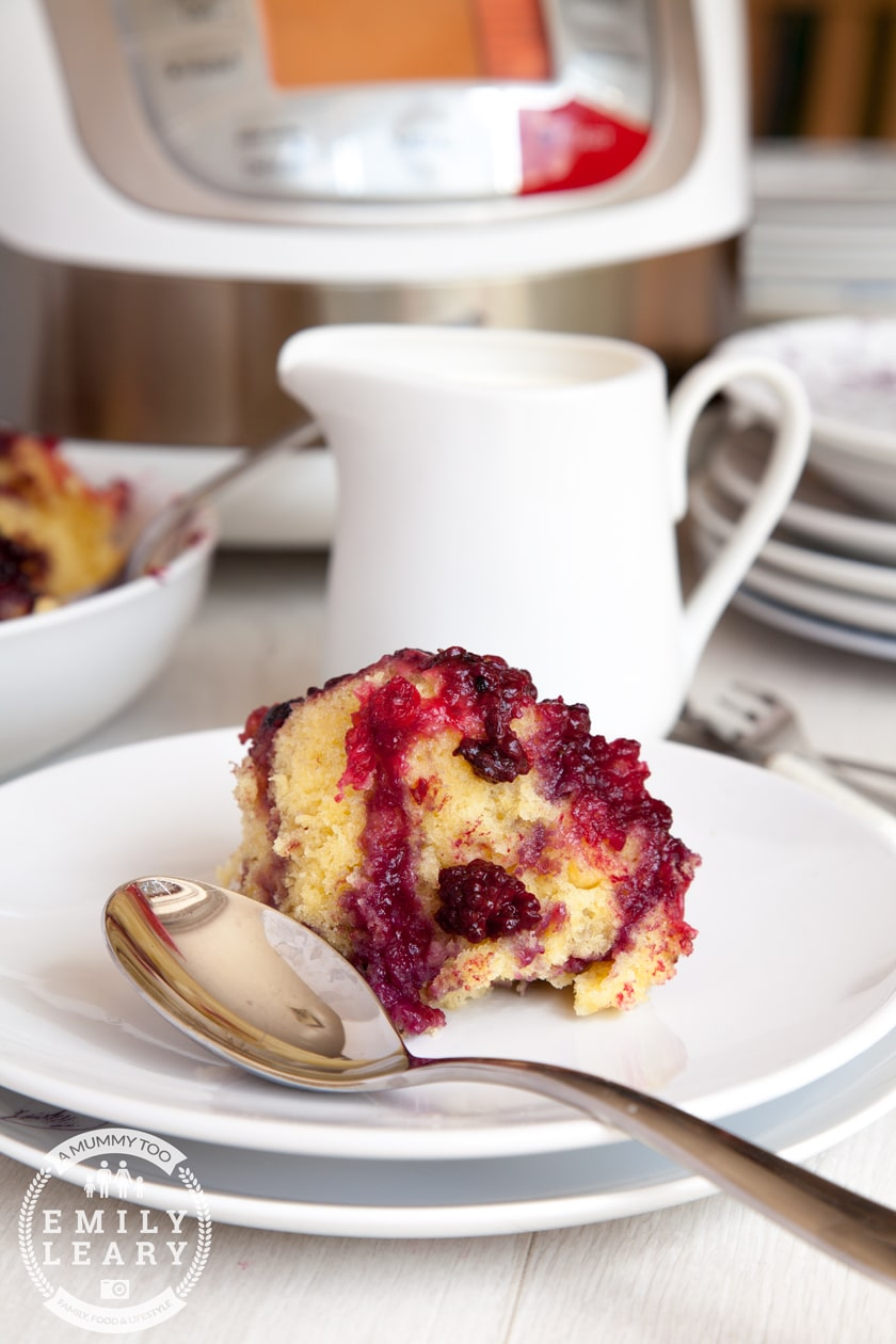 A delicious summer fruit sponge pudding, made in my REDMOND multicooker