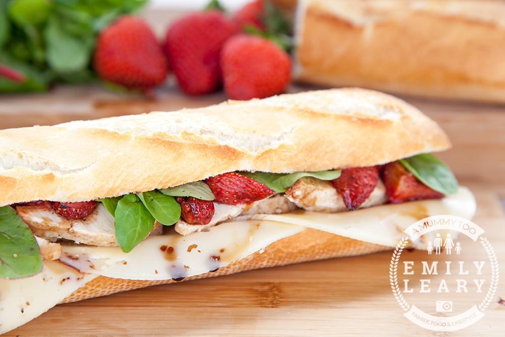 Balsamic roasted strawberry, chicken and swiss cheese baguette. Utterly delicious! It's easy to create a vegetarian version too, by swapping the chicken for Quorn pieces!