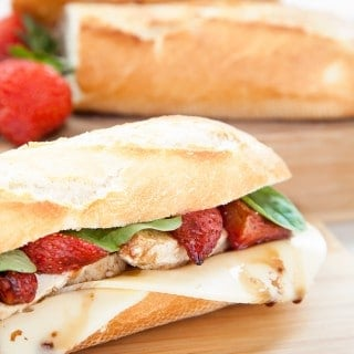 Balsamic roasted strawberry, chicken and swiss cheese baguette
