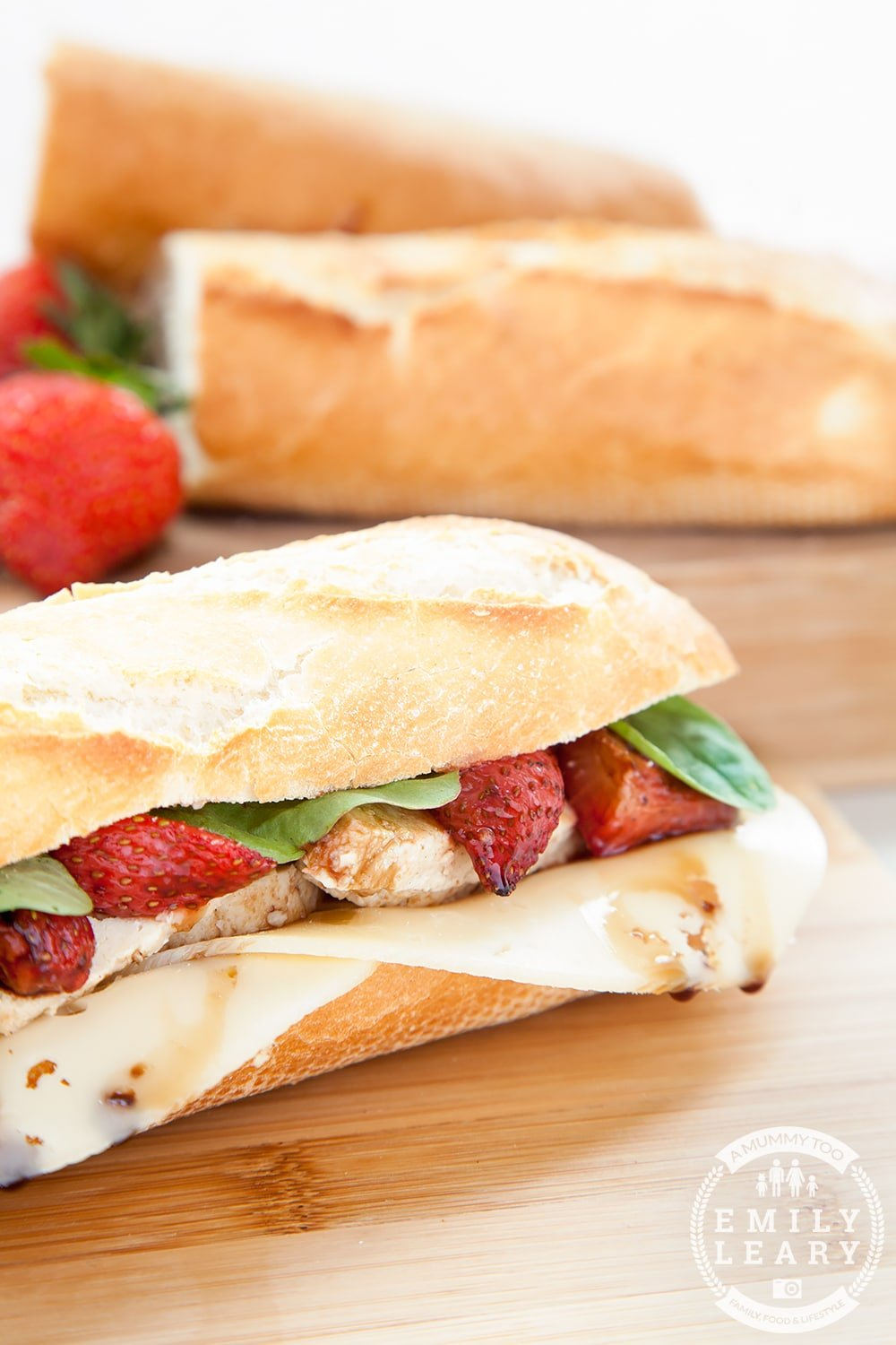 Balsamic roasted strawberry, Quorn and swiss cheese baguette - delicious and vegetarian! For those who love chicken swap out the Quorn for roasted chicken, to create a strawberry, chicken and swiss cheese baguette!