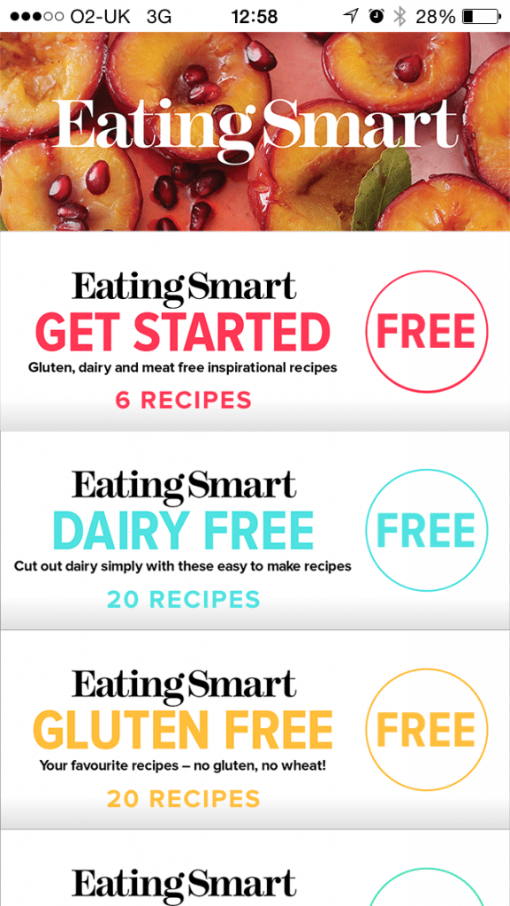 Eating Smart app from woman&home front screen