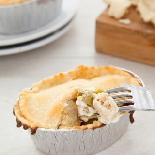 Gluten-free, vegetarian chicken-less pot pies