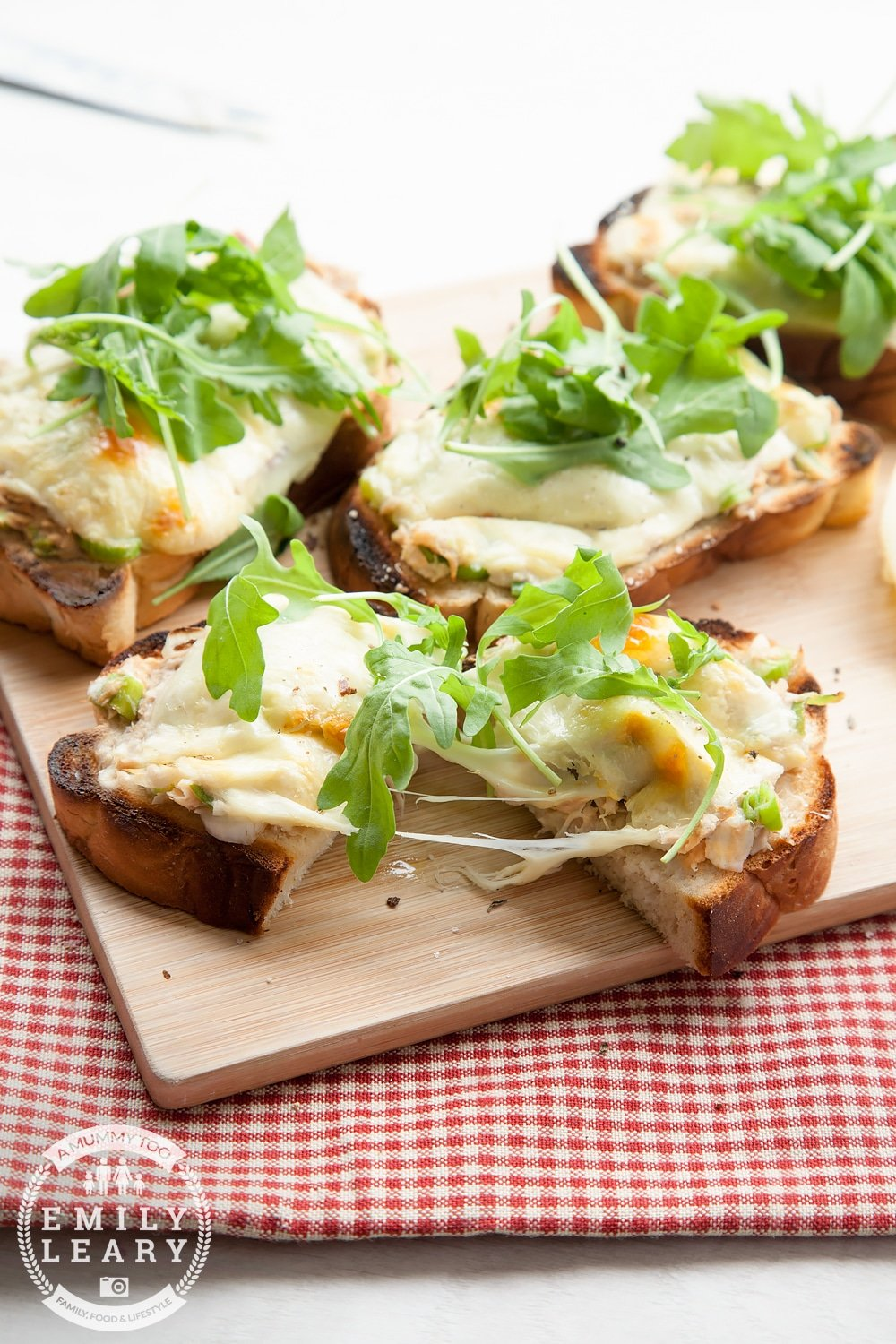 The tuna melt is a classic, but it can be loaded with fat. Here's a healthier version - a reduced fat tuna melt made with light mayo, spring onions, Swiss cheese, seasoning and a topping of fresh rocket (arugula). Why not make it this week?