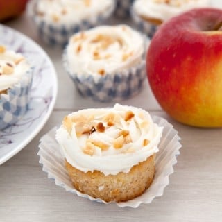 Gluten-free apple and cinnamon cupcakes with a goat's butter frosting