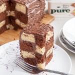 Dairy-free, gluten-free chocolate and vanilla chequerboard cake