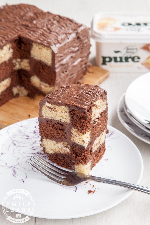 Dairy-free, gluten-free chocolate and vanilla checkerboard cake