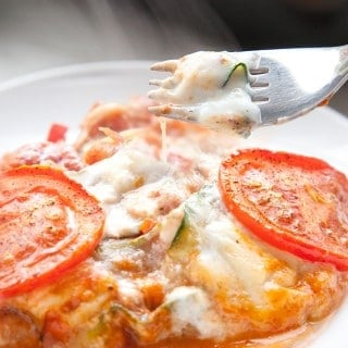 Tomato and courgette Galbani mozzarella bake