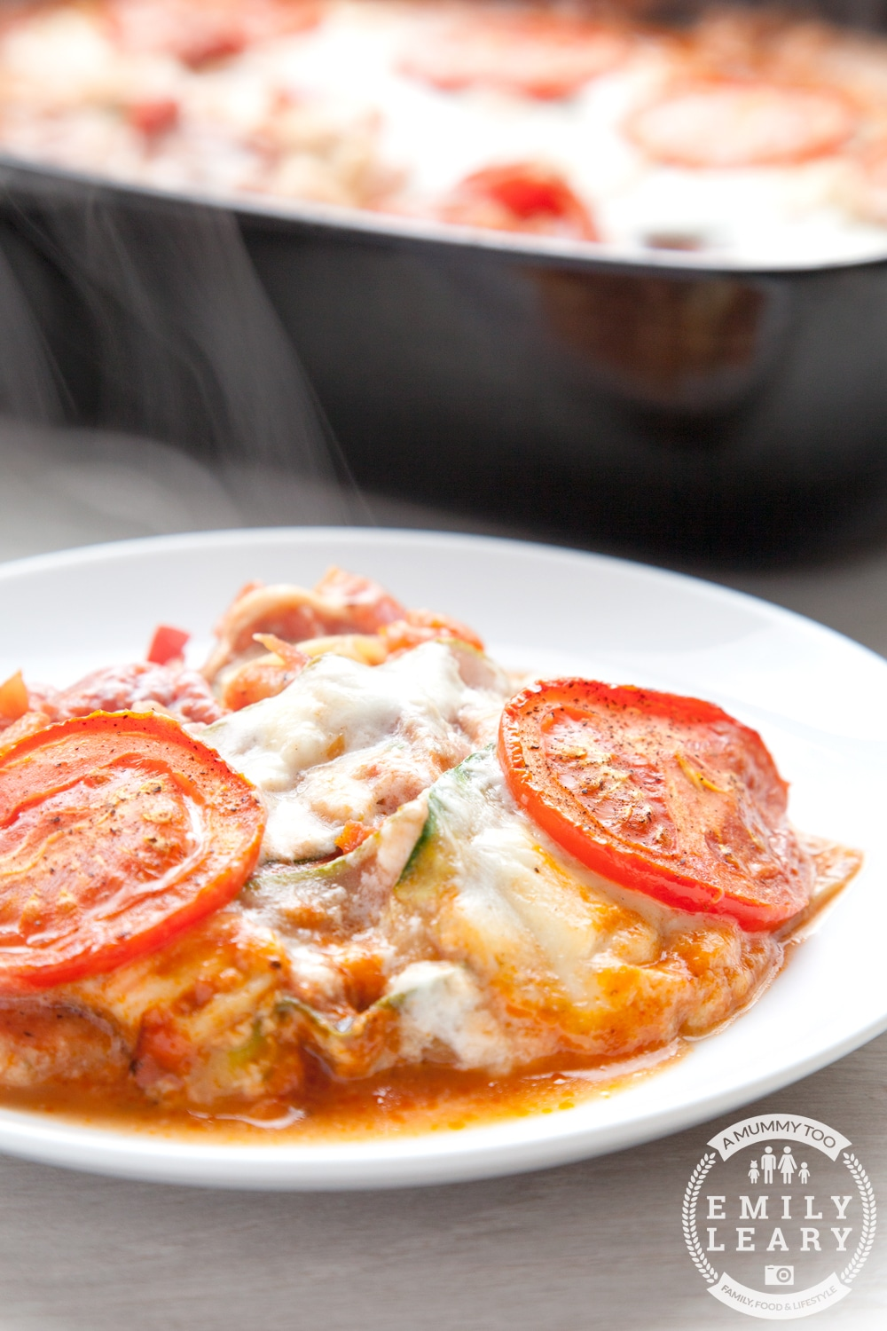 Tomato and courgette mozzarella bake - a low carb, vegetarian take on pasta bake