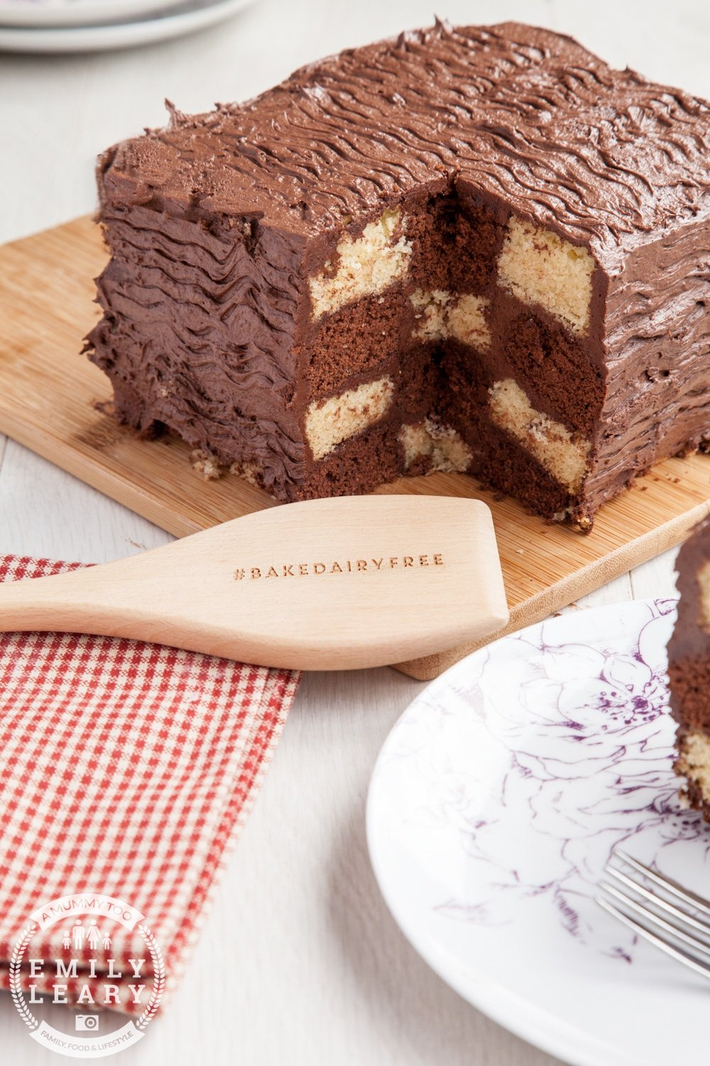 Bake this delicious dairy-free, gluten-free chocolate and vanilla chequerboard cake at home