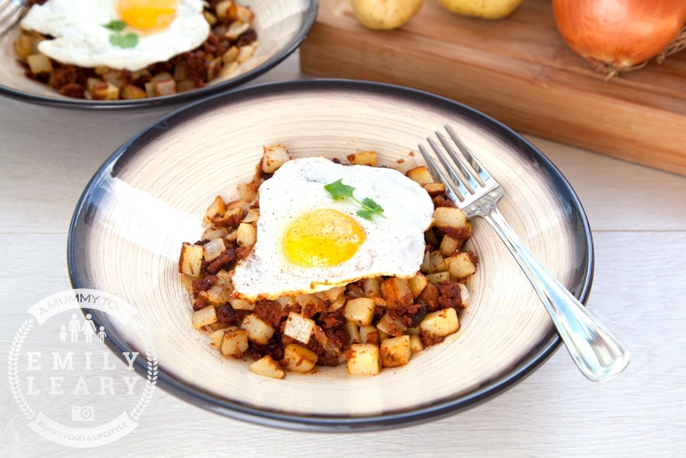 The finished chilli corned beef hash, topped with a fried egg